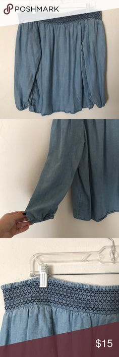 Chambray off the shoulder top 3/4 sleeve chambray off the shoulder top GAP Tops Blouses