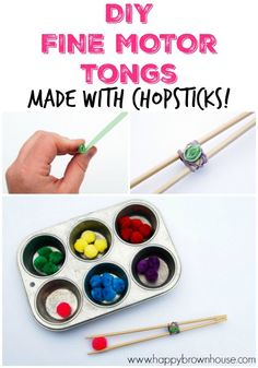 DIY Fine Motor Tongs Made With Chopsticks