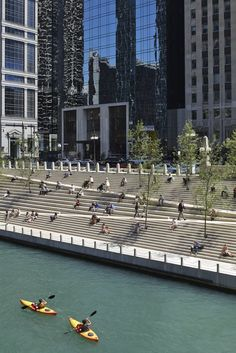 Gallery of Chicago Riverwalk Opens to the Public, Returning the City to the River 4 is part of architecture - Image 4 of 37 from gallery of Chicago Riverwalk Opens to the Public, Returning the City to the River Photograph by Kate Joyce Studios Landscape Stairs, Landscape And Urbanism, Urban Landscape, Landscape Design, Chicago Riverwalk, Public Space Design, Stairs Architecture, Architecture Diagrams, Architecture Portfolio