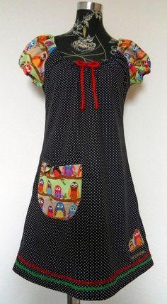 Tunika Kleid Hänger  Vogel Bird  Eule  rot  von Zellmann Fashion auf DaWanda.com