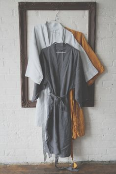 Linen Robes / Bath Robes Kimono Style Unisex by LostinLinen