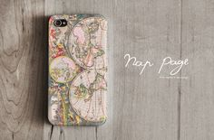 iphone 4 case , iphone 4s case , case for Iphone 4 Blackberry mobile Case handmade: World Map.