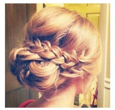 Low updo with braid