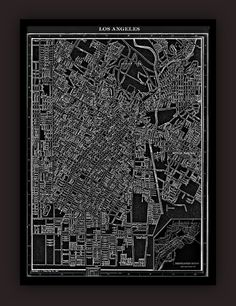 Los Angeles Early 1900's Lithograph Map