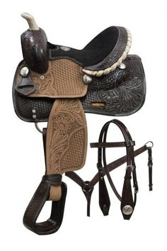 Double T pony saddle set with engraved silver conchos. This saddle features dark oil tooled round skirts, pommel and cantle with rough out fenders a. Equestrian Boots, Equestrian Style, Quarter Horse, Horn, Pony Saddle, Western Horse Tack, Western Saddles, Stirrup Leathers, Horse Supplies