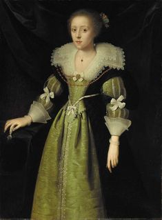 Circle of Daniel Mytens (Delft The Hague) Portrait of a lady, standing, three-quarter-length, in an embroidered green dress with a white lace collar and cuffs oil on canvas. 17th Century Clothing, 17th Century Fashion, 18th Century, Historical Costume, Historical Clothing, Baroque Dress, Renaissance Portraits, Dress Painting, Period Outfit