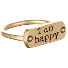 Dogeared I Am Happy Ring ($15) ❤ liked on Polyvore featuring jewelry, rings, accessories, anillos, gold, women, dog tag jewelry, handcrafted jewelry, band jewelry and hand crafted jewelry