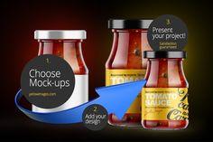 glass jar with sauce free mockup