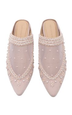 This **Saptodjojokartiko** mule is rendered in velvet and features jewel embellishment and tulle embroidery. Ugly Shoes, Comfy Shoes, Sock Shoes, Wedding Slippers, Wedding Shoes, High Heels Stilettos, Peep Toe Pumps, Beaded Shoes, Plastic Shoes
