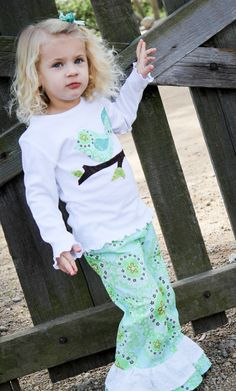 Girls Outfit - Toddler Clothes -  Ruffle Pants Set - Bird Shirt - Double Ruffle Pants - Amy Butler - Baby Clothes