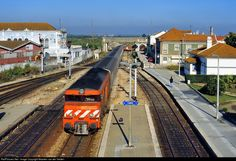 High quality photograph of CP Portugal CP 1900 class (Alsthom) # 1944 at Pinhal Novo, Portugal. Train Art, Bahn, Locomotive, Trains, Parking Lot, Transportation, Locs