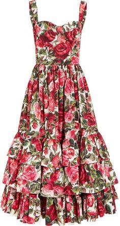 Dolce & Gabbana - Ruffled Floral-print Cotton-poplin Dress - Pink