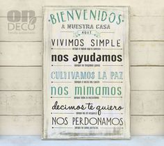Cartel vintage | Bienvenidos a nuestra casa aquí....