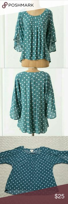 "SALE - Anthropologie Maeve Braxton Polka Dot Top Very good condition - 100% rayon - first two pics are stock pics - 27"" total length measured down back - 22.5"" from pit to pit across the back - very soft - green and white - size medium Anthropologie Tops Blouses"