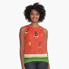 Watermelon Tattoo, Watermelon Water, Watermelon Ice Cream, Watermelon Dress, Watermelon Salad, Watermelon Tourmaline, Watermelon Festival, Chiffon Tops, Pocket