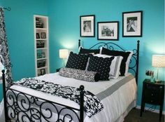 Dormitorio turquesa negro blanco y gris