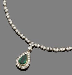 An emerald and diamond pendant necklace Composed of a series of oval links set with brilliant-cut diamonds, suspending a detachable pear-shaped emerald and similarly-cut diamond cluster pendant, diamonds approx. 6.00cts total, French assay mark, lengths: pendant 2.5cm, chain 34.4cm