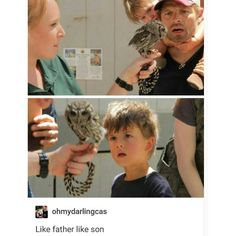 I kategorin kändis möter uggla! :)   Misha Collins and his son West are amazed by an owl. Daughter Maison Marie watches from his shoulders. #spn #castiel