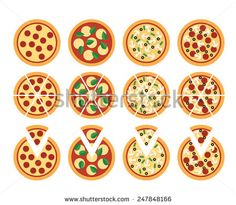 set of flat pizza icons isolated on white - stock vector