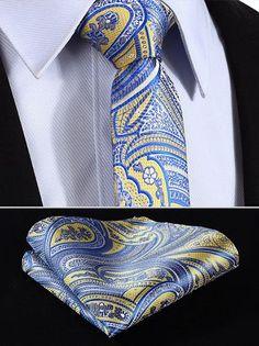 "TP916B7 Blue Yellow skinny floral 2.75"" 100%Silk Woven Slim Skinny Narrow Men Tie Necktie Handkerchief Pocket Square Suit Set"