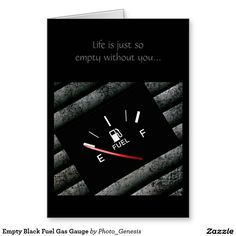 Empty Black Fuel Gas Gauge Greeting Card