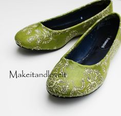 SHOE MAKEOVERS: Covering with Fabric, Lace, and Paper |Crafty Lady Abby