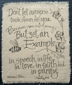 Original Pen and Ink illustration on fabric Christian Quilt Label Bumble Bee JOY by Michelle L. Palmer June 2013 ♥