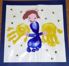 Hand and Foot Pictures. Make this easy angel craft for Christmas using your child's hand prints and foot prints. A great way to remember their size that Christmas. They grow up so fast!