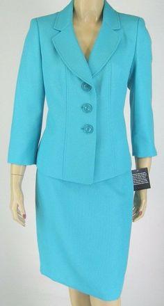Le Suit Aqua Jacket Blazer Skirt Suit Regular Sizes $200 New 9287 #LeSuit #SkirtSuit