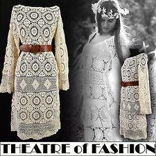 VINTAGE CROCHET LACE DRESS 70s 60s HIPPIE BOHO FESTIVAL WEDDING SUPERMODEL GYPSY