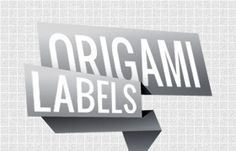 3D Origami Style Vector Labels