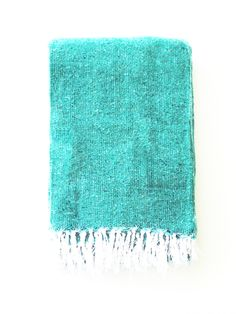 Seafoam / Turquoise Solid Mexican Blanket