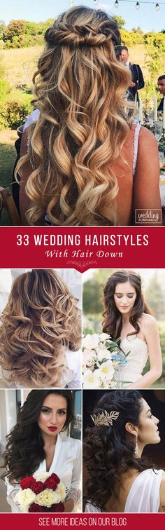 33 Exquisite Wedding Hairstyles With Hair Down ❤ Wedding hairstyles with hair down are perfect for spring or summer celebration. Have inspired with our wedding hairstyle ideas for hair down. See more: http://www.weddingforward.com/wedding-hairstyles-down/ ‎#wedding #bride #weddinghairstyles #weddinghairstylesdown