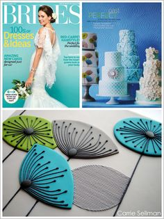 Inspired by a retro Dandelion Clocks Wallpaper, this Carrie Sellman design features three extra tall tiers covered in light grey fondant.  Hand-cut fondant flowers in turquoise and bright green recreate the wallpaper pattern.  The flower details and intricately striped leaves are hand-piped using a sugar glaze and a short turquoise spacer adds an extra pop of color.