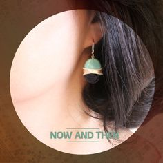 "Now and then 오후의 회상""These earrings are painted pottery work.  Media : Colored poettery and silver"" ringpocket . 2014"