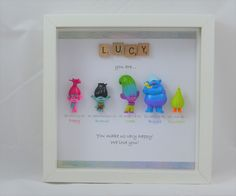 Personalised scrabble Troll frame- Dreamworks Trolls- Poppy-Branch-perfect christmas gift- birthday present- daughter- sister- niece-son by MakeItExtraSpecial on Etsy https://www.etsy.com/uk/listing/474774480/personalised-scrabble-troll-frame