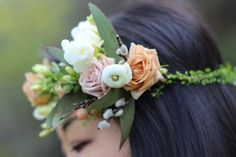 Beautiful Flower Crown.  Some of the Flowers include Spray Roses, Ranunculus, Pussy Willow, Freesias.