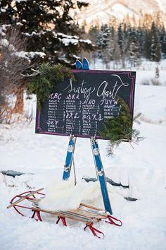 24 Cozy-Chic Ideas to Create the Après Ski Wedding of Your Dreams - Brit + Co Ski Wedding, Wedding Tips, Wedding Shoot, Wedding Table, Seating Chart Wedding, Seating Charts, Winter Wedding Inspiration, Apres Ski, Watercolor Invitations