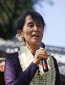 Aung San Suu Kyi is the daughter of one of the most important builder of Burma independence, Aung San, secretary of the Communist Party of Burma. In 1991 she received the Nobel Peace Prize for her fight for peace, non-violence and democracy.