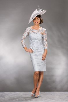 Formal Illusion Knee Length Silver Taffeta Sheath Column Mother Of The Bride Dress B2cp0013