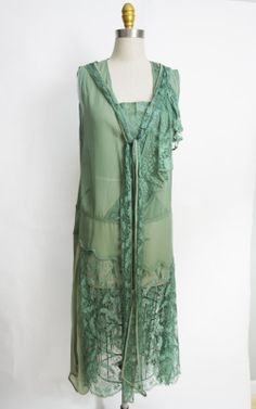 1920s chiffon lace sage green flapper dress