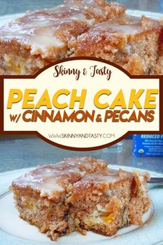Peach Cake with Cinnamon and Pecans Recipe, Peaches are in season, and gosh are they glorious, or what! It's very easy to prepare. #peach #cake #cinnamon #pecans #cakerecipe #easyrecipe Cookie Desserts, No Bake Desserts, Easy Desserts, Delicious Desserts, Dessert Recipes, Yummy Food, Peach Cake Recipes, Tasty, Cake Cookies