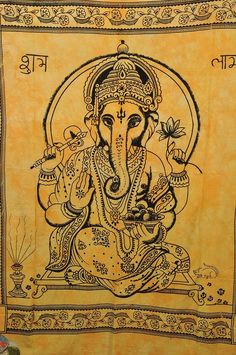 Beautiful Ganesh Tapestry Hippie Indian Tapestry by Ayatcreation, $21.99