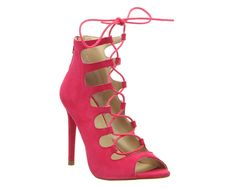 1d590a937416 Office Parisian Lace Up Ghillie Sandal Bright Pink Suede - High Heels
