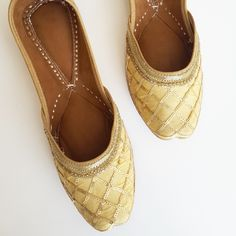 Traditional Gold Punjabi Juttis are now listed in the shop!