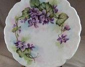 Hand Painted Violets on Porcelain Trivet