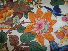 Lee Jofa Kravet Jacobean Linen Fabric 10 Yards Cream Green Rose Blue Multi | eBay Oriental Flowers, Lee Jofa, Jacobean, Green Rose, Linen Fabric, Rugs, Floral, Blue, Ebay