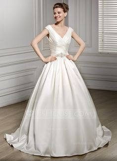 A-Line/Princess V-neck Court Train Satin Wedding Dress With Ruffle Beading Sequins (002056576)