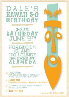 printable hawaii five 0 50th birthday party invitation digital pdf