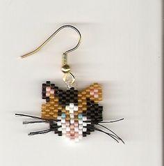 hand beaded calico cat head dangle earrings by jjsims43 on Etsy